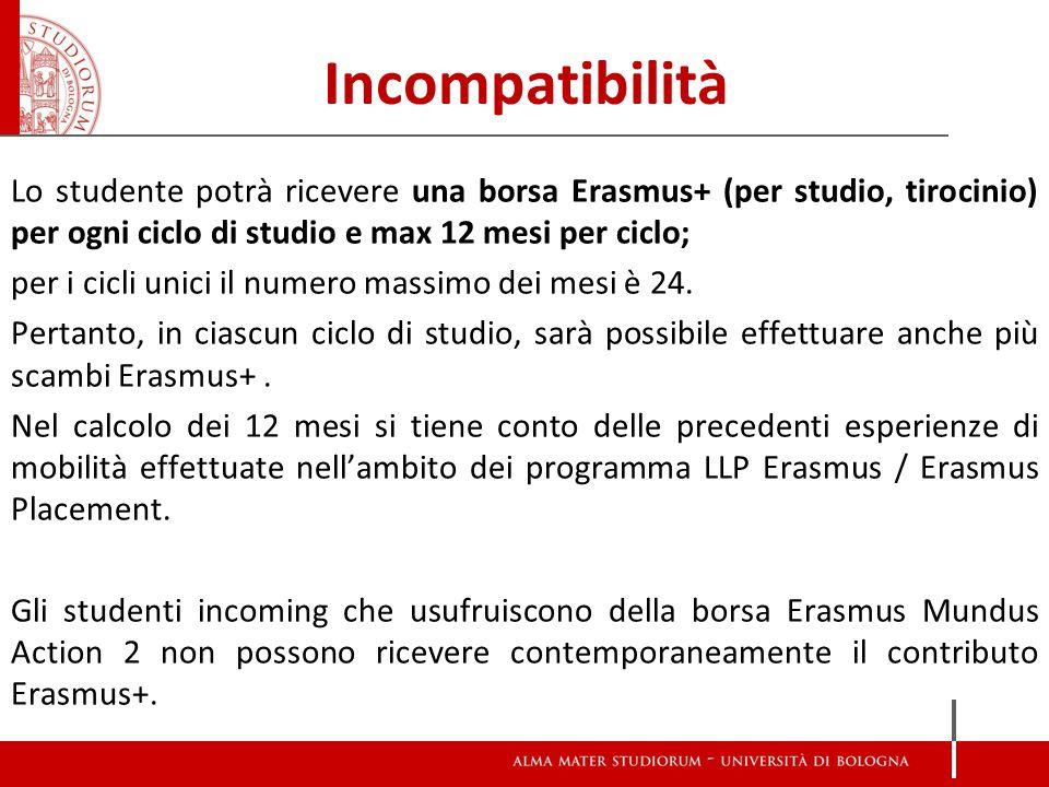 Incompatibilità Lo studente potrà ricevere una borsa Erasmus+ (per studio, tirocinio) per ogni ciclo di studio e max 12 mesi per ciclo; per i cicli unici il numero massimo dei mesi è 24.