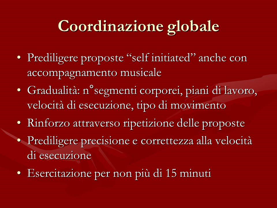 """Coordinazione globale Prediligere proposte """"self initiated"""" anche con accompagnamento musicalePrediligere proposte """"self initiated"""" anche con accompag"""