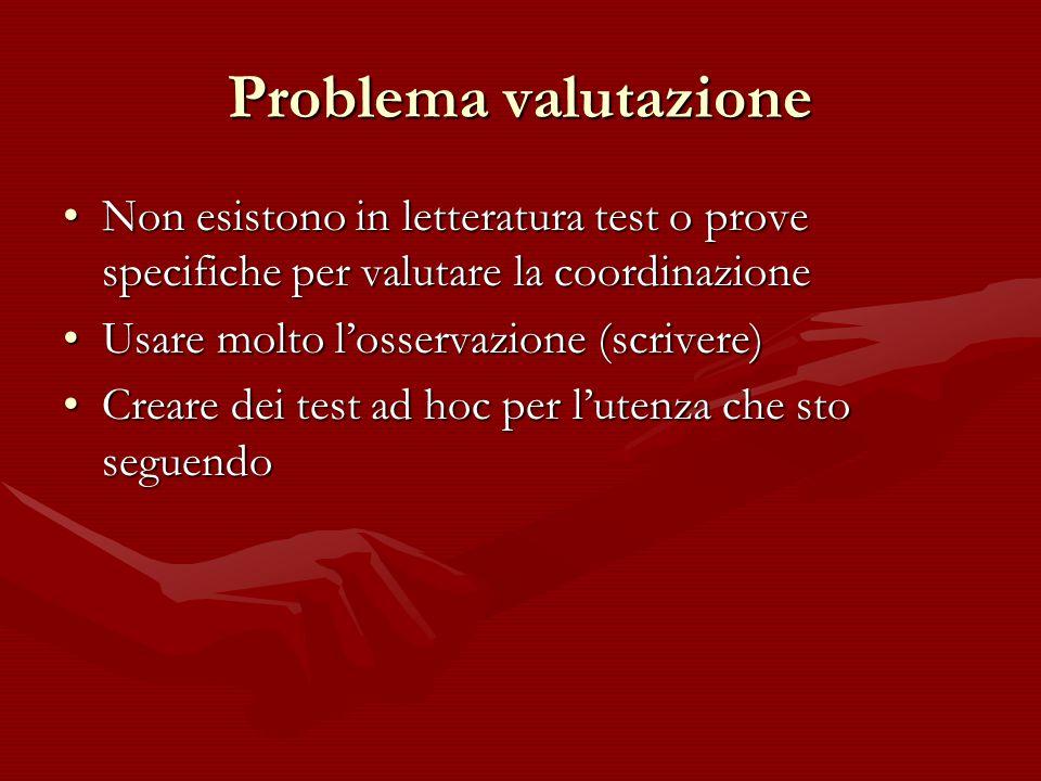 Problema valutazione Non esistono in letteratura test o prove specifiche per valutare la coordinazioneNon esistono in letteratura test o prove specifi