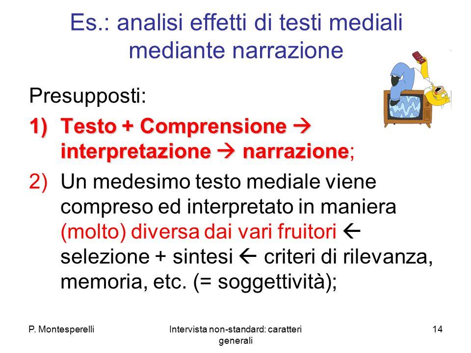 P. MontesperelliIntervista non-standard: caratteri generali 14 Es.: analisi effetti di testi mediali mediante narrazione Presupposti: 1)Testo + Compre