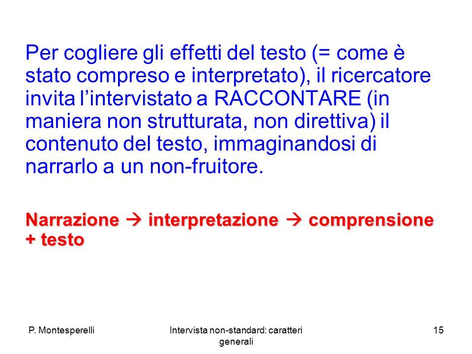 P. MontesperelliIntervista non-standard: caratteri generali 15 Per cogliere gli effetti del testo (= come è stato compreso e interpretato), il ricerca