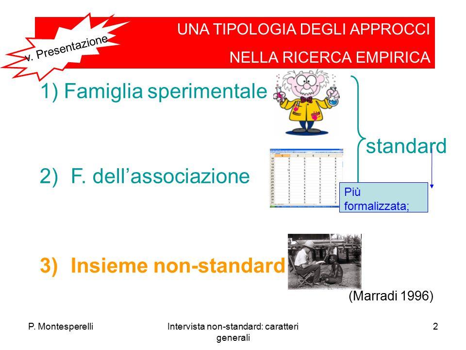 P. MontesperelliIntervista non-standard: caratteri generali 2 1) Famiglia sperimentale standard 2)F. dell'associazione 3)Insieme non-standard UNA TIPO