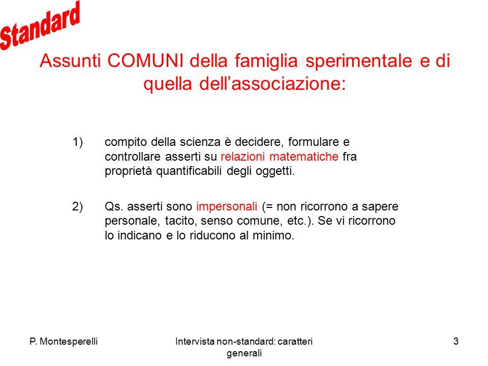 P. MontesperelliIntervista non-standard: caratteri generali 3 Assunti COMUNI della famiglia sperimentale e di quella dell'associazione: 1)compito dell