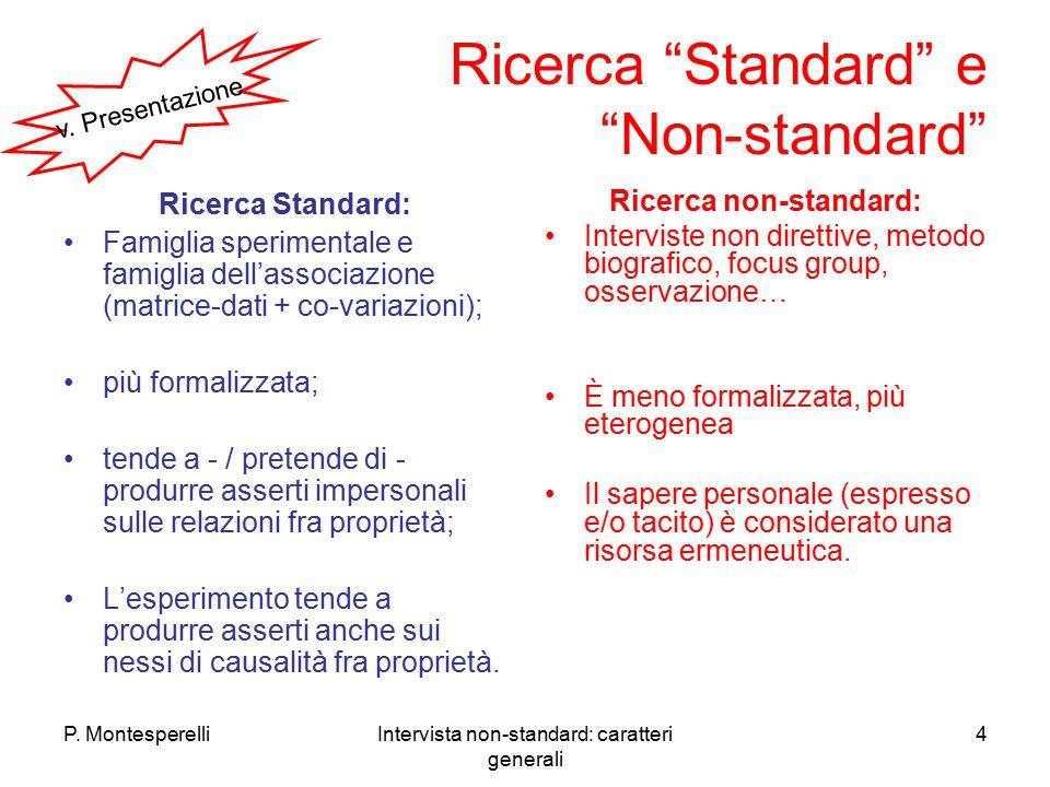 """P. MontesperelliIntervista non-standard: caratteri generali 4 Ricerca """"Standard"""" e """"Non-standard"""" Ricerca Standard: Famiglia sperimentale e famiglia d"""