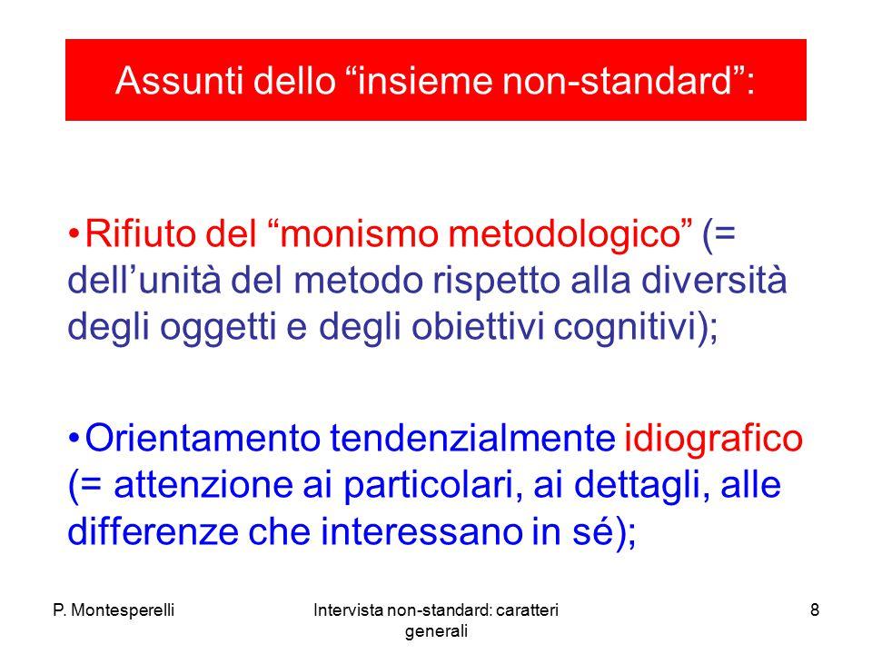 """P. MontesperelliIntervista non-standard: caratteri generali 8 Assunti dello """"insieme non-standard"""": Rifiuto del """"monismo metodologico"""" (= dell'unità d"""