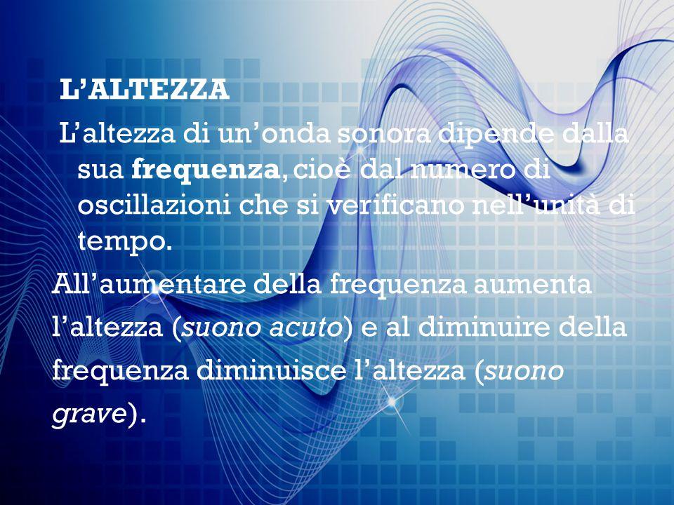L'ALTEZZA L'altezza di un'onda sonora dipende dalla sua frequenza, cioè dal numero di oscillazioni che si verificano nell'unità di tempo. All'aumentar