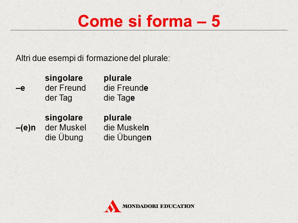 Come si forma – 5 Altri due esempi di formazione del plurale: singolareplurale –eder Freunddie Freunde der Tagdie Tage singolareplurale –(e)nder Muskeldie Muskeln die Übungdie Übungen
