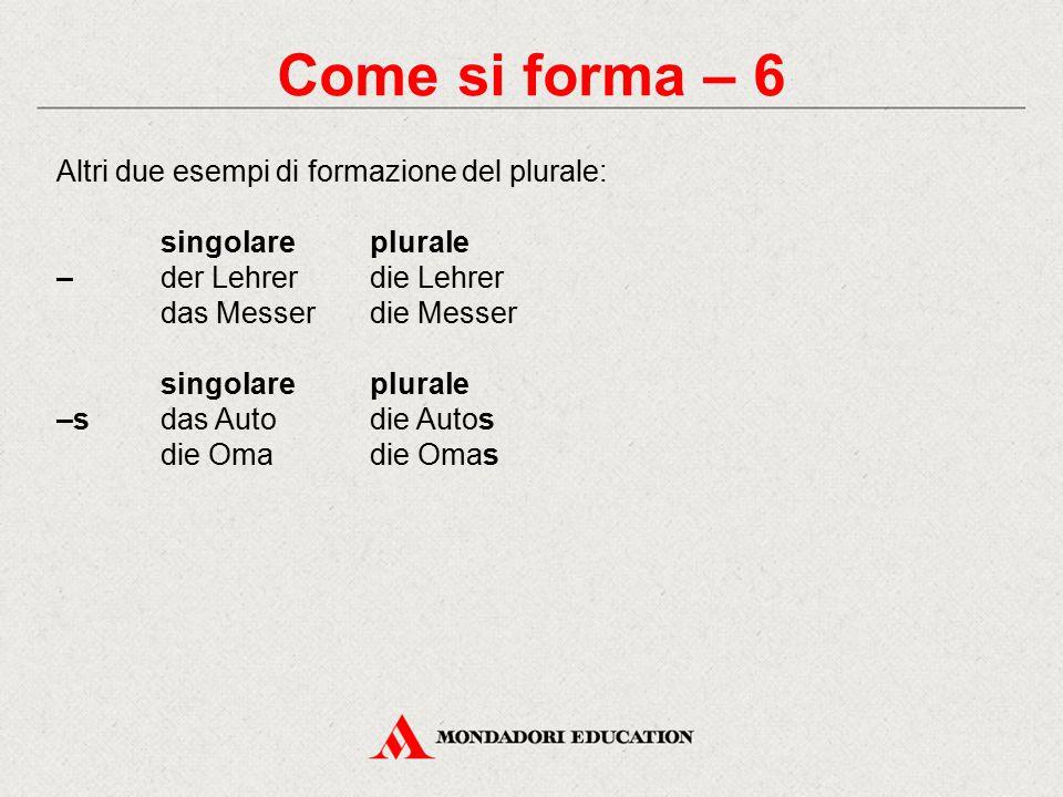 Come si forma – 6 Altri due esempi di formazione del plurale: singolareplurale – der Lehrerdie Lehrer das Messerdie Messer singolareplurale –sdas Autodie Autos die Omadie Omas