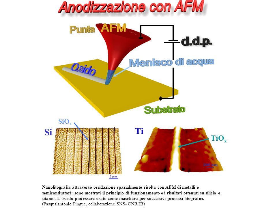 TiO x SiO x Si Nanolitografia attraverso ossidazione spazialmente risolta con AFM di metalli e semiconduttori: sono mostrati il principio di funzionamento e i risultati ottenuti su silicio e titanio.