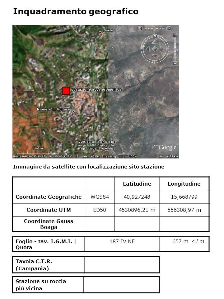 Immagine da satellite con localizzazione sito stazione Foglio - tav. I.G.M.I. | Quota 187 IV NE657 m s.l.m. Inquadramento geografico LatitudineLongitu