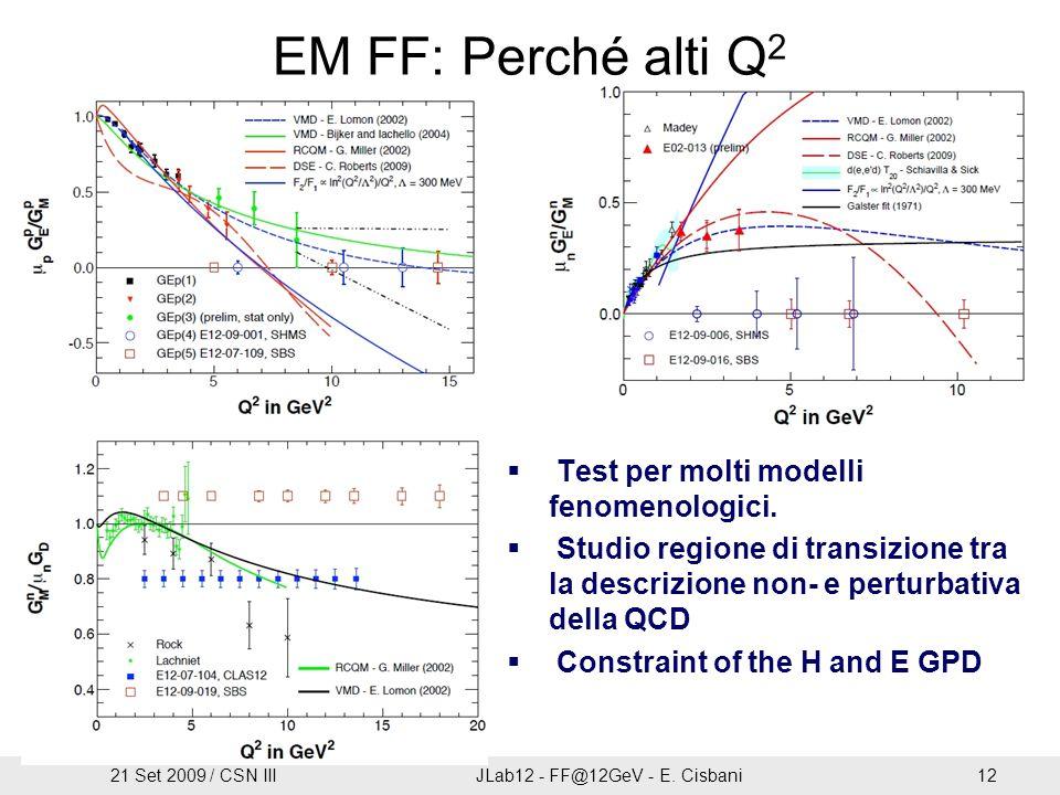 EM FF: Perché alti Q 2  Test per molti modelli fenomenologici.  Studio regione di transizione tra la descrizione non- e perturbativa della QCD  Con