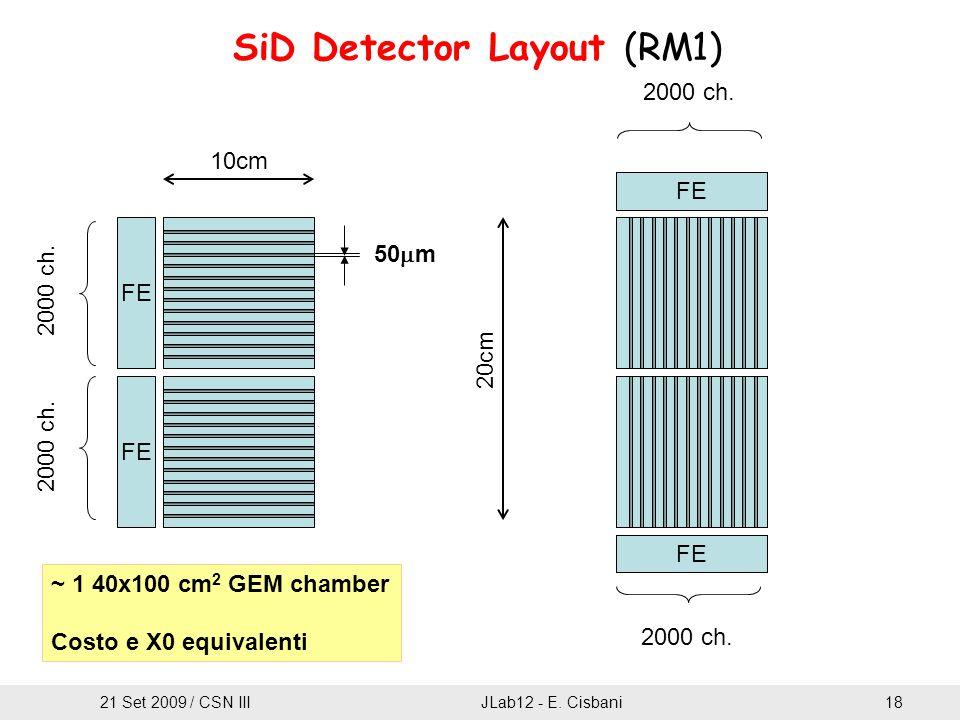 SiD Detector Layout (RM1) 10cm 20cm 50  m FE 2000 ch. ~ 1 40x100 cm 2 GEM chamber Costo e X0 equivalenti 21 Set 2009 / CSN IIIJLab12 - E. Cisbani18