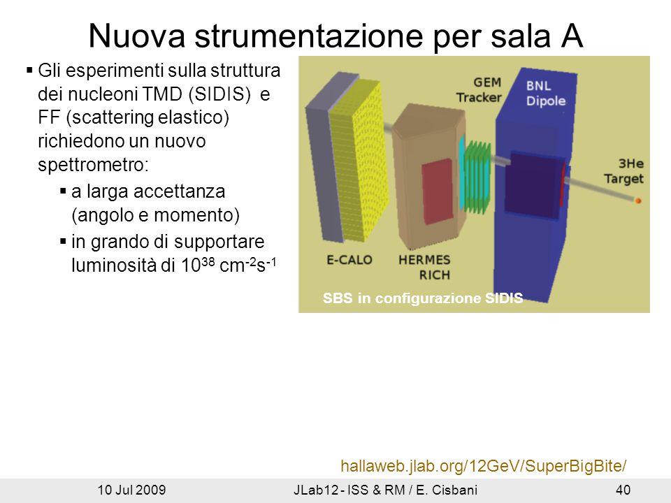 10 Jul 2009JLab12 - ISS & RM / E. Cisbani40 Nuova strumentazione per sala A Prototipo GEM  Gli esperimenti sulla struttura dei nucleoni TMD (SIDIS) e