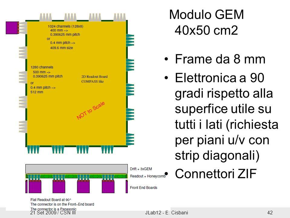 Frame da 8 mm Elettronica a 90 gradi rispetto alla superfice utile su tutti i lati (richiesta per piani u/v con strip diagonali) Connettori ZIF Modulo GEM 40x50 cm2 21 Set 2009 / CSN IIIJLab12 - E.