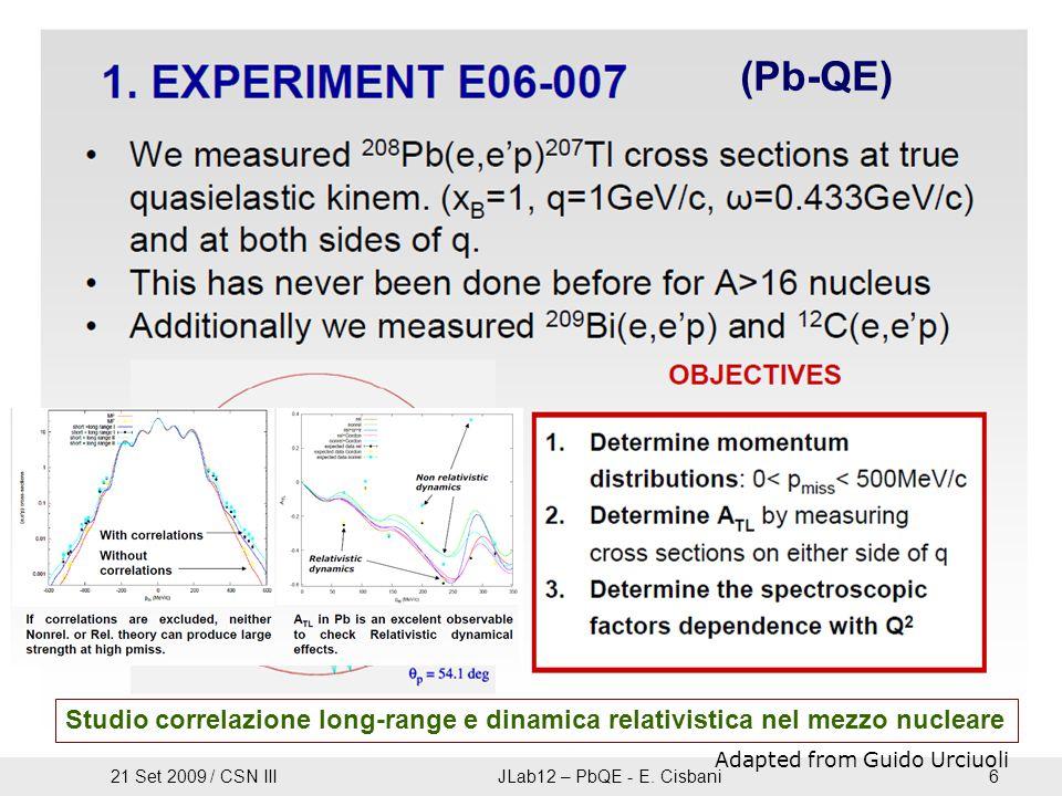 Studio correlazione long-range e dinamica relativistica nel mezzo nucleare Adapted from Guido Urciuoli (Pb-QE) 21 Set 2009 / CSN IIIJLab12 – PbQE - E.