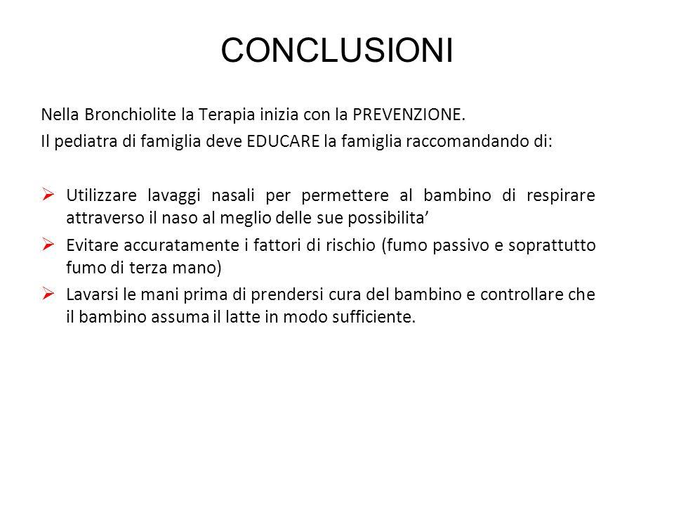 CONCLUSIONI Nella Bronchiolite la Terapia inizia con la PREVENZIONE. Il pediatra di famiglia deve EDUCARE la famiglia raccomandando di:  Utilizzare l