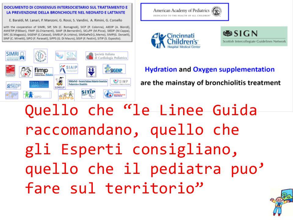 """Quello che """"le Linee Guida raccomandano, quello che gli Esperti consigliano, quello che il pediatra puo' fare sul territorio"""""""