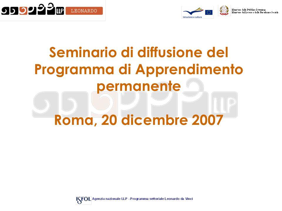 Seminario di diffusione del Programma di Apprendimento permanente Roma, 20 dicembre 2007