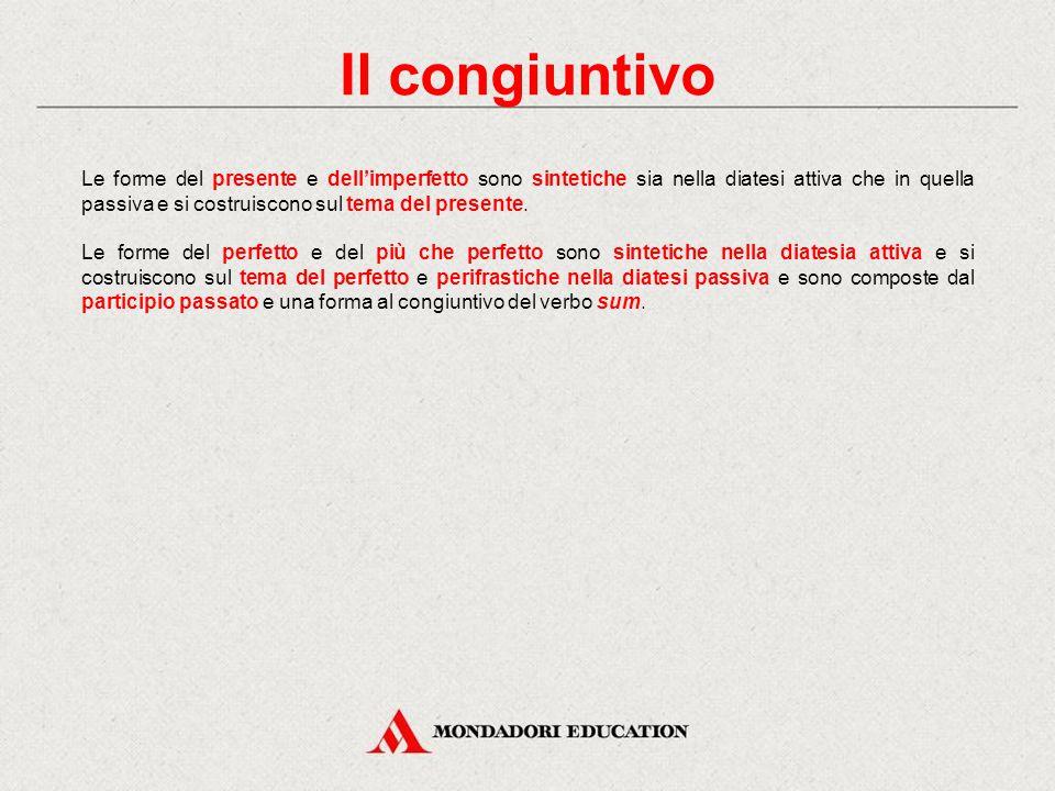 Il congiuntivo Anche in latino il congiuntivo è il modo della soggettività: presenta cioè le azioni e gli stati espressi dal predicato non in modo ogg