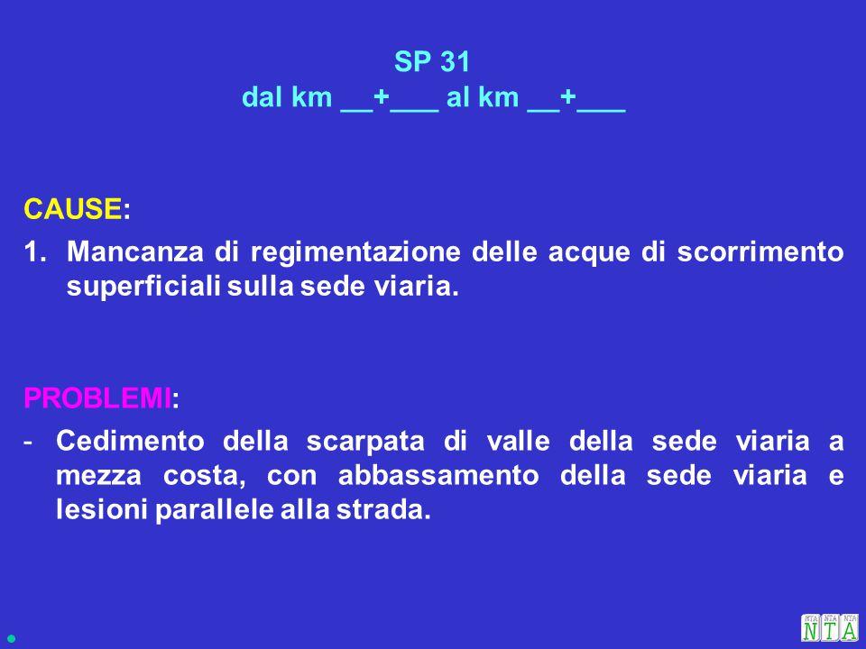 SOLUZIONI: A.Sistemazione cunette in destra e sinistra che recapitano all'ingresso e sbocco del tombino; B.B.