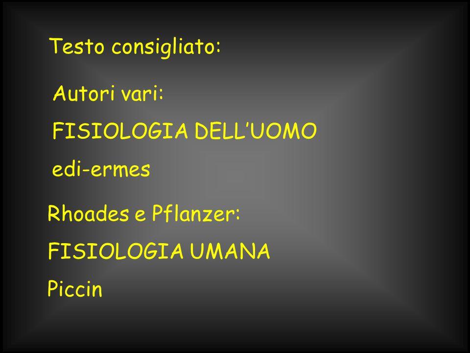 Testo consigliato: Autori vari: FISIOLOGIA DELL'UOMO edi-ermes Rhoades e Pflanzer: FISIOLOGIA UMANA Piccin