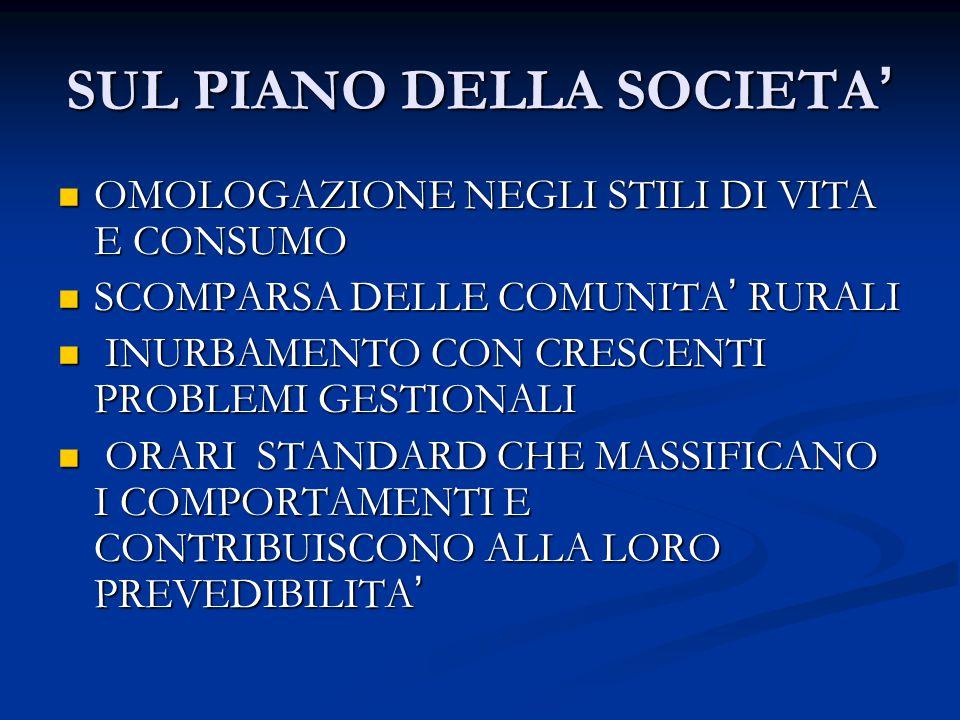 SUL PIANO DELLA SOCIETA ' OMOLOGAZIONE NEGLI STILI DI VITA E CONSUMO OMOLOGAZIONE NEGLI STILI DI VITA E CONSUMO SCOMPARSA DELLE COMUNITA ' RURALI SCOM