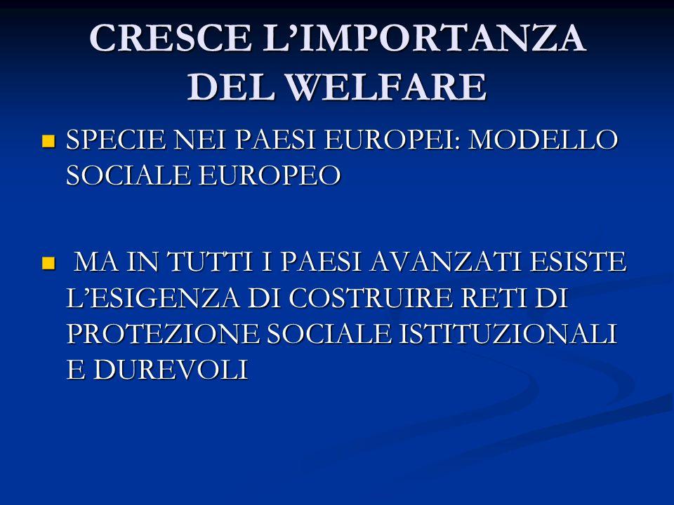 CRESCE L'IMPORTANZA DEL WELFARE SPECIE NEI PAESI EUROPEI: MODELLO SOCIALE EUROPEO SPECIE NEI PAESI EUROPEI: MODELLO SOCIALE EUROPEO MA IN TUTTI I PAESI AVANZATI ESISTE L'ESIGENZA DI COSTRUIRE RETI DI PROTEZIONE SOCIALE ISTITUZIONALI E DUREVOLI MA IN TUTTI I PAESI AVANZATI ESISTE L'ESIGENZA DI COSTRUIRE RETI DI PROTEZIONE SOCIALE ISTITUZIONALI E DUREVOLI