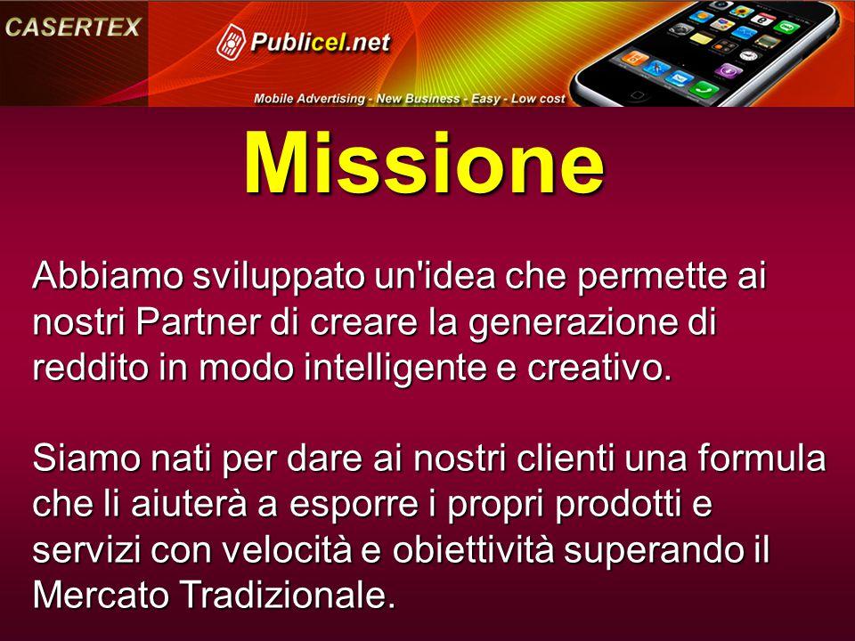 Missione Abbiamo sviluppato un idea che permette ai nostri Partner di creare la generazione di reddito in modo intelligente e creativo.