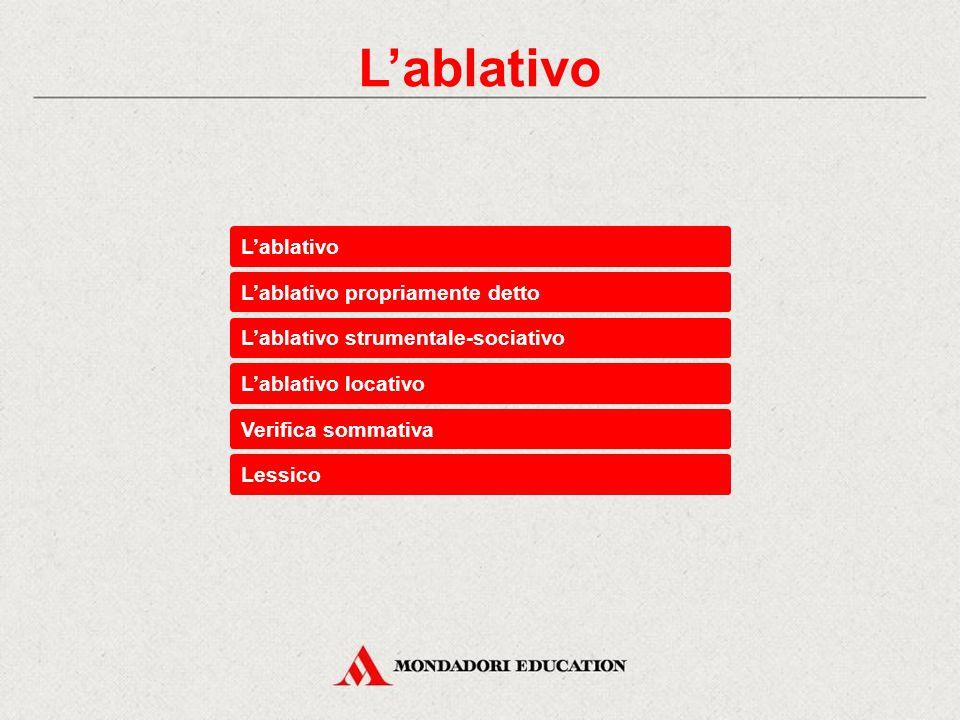 Verifica sommativa Esercizi di base Indica quali fra questi complementi non è espresso da de + ablativo.