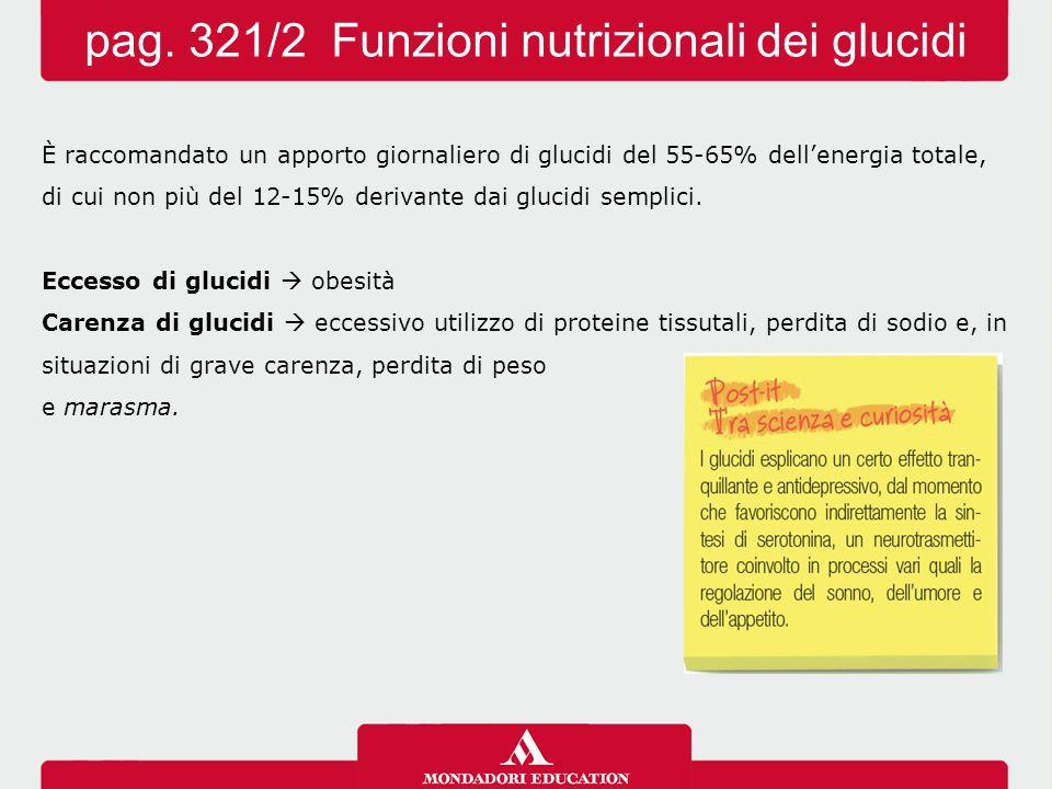 È raccomandato un apporto giornaliero di glucidi del 55-65% dell'energia totale, di cui non più del 12-15% derivante dai glucidi semplici. Eccesso di