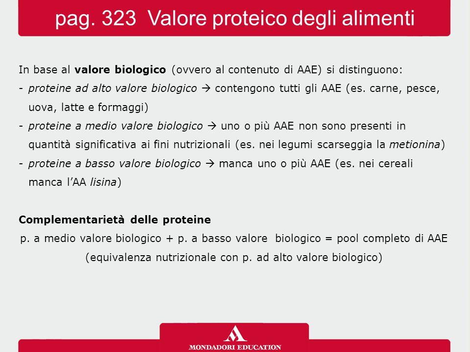 In base al valore biologico (ovvero al contenuto di AAE) si distinguono: -proteine ad alto valore biologico  contengono tutti gli AAE (es. carne, pes
