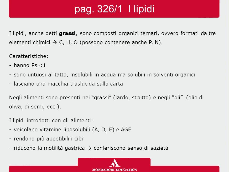 I lipidi, anche detti grassi, sono composti organici ternari, ovvero formati da tre elementi chimici  C, H, O (possono contenere anche P, N). Caratte