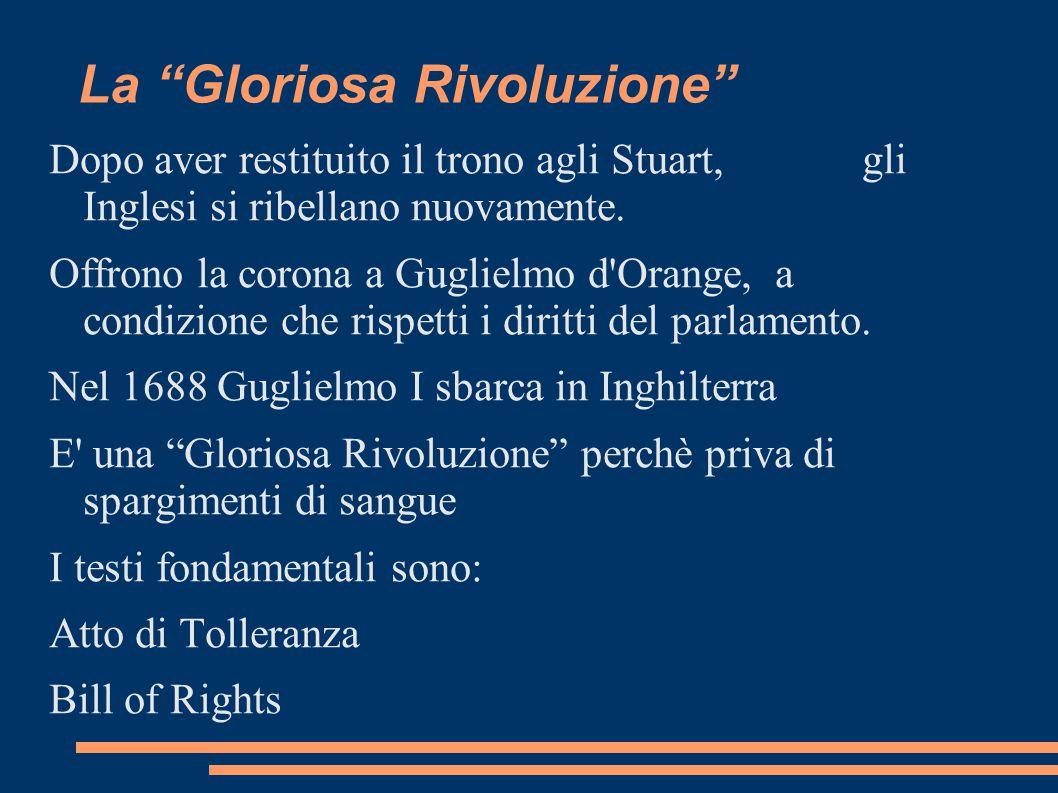 """La """"Gloriosa Rivoluzione"""" Dopo aver restituito il trono agli Stuart, gli Inglesi si ribellano nuovamente. Offrono la corona a Guglielmo d'Orange, a co"""