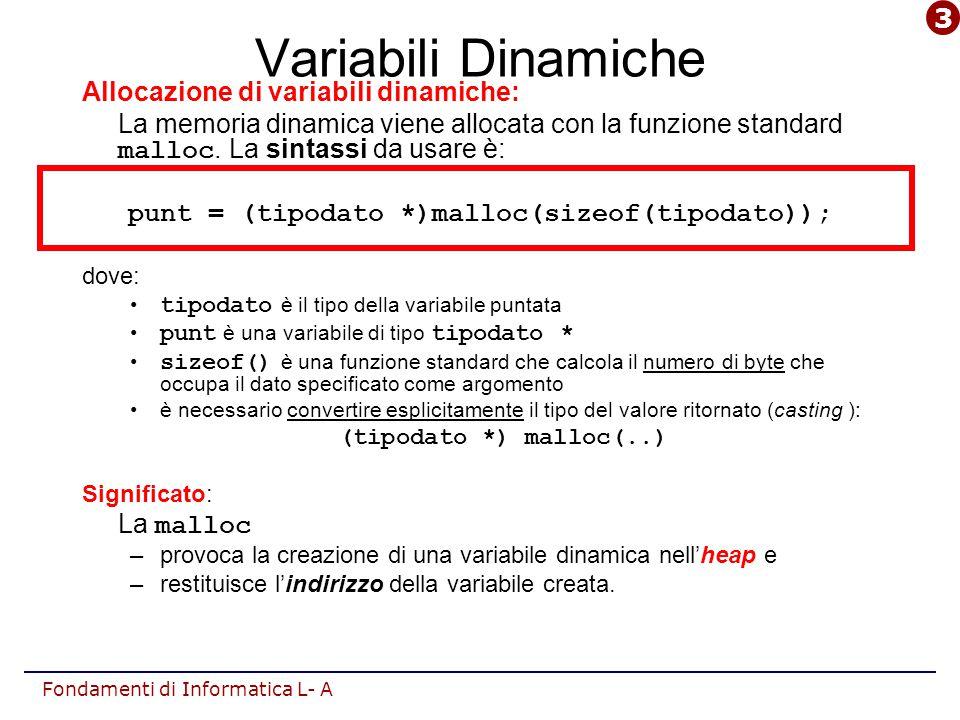 Fondamenti di Informatica L- A Variabili Dinamiche Allocazione di variabili dinamiche: La memoria dinamica viene allocata con la funzione standard malloc.