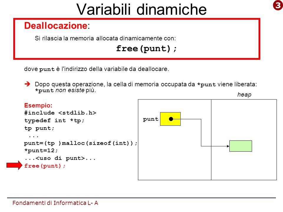 Fondamenti di Informatica L- A Variabili dinamiche Deallocazione: Si rilascia la memoria allocata dinamicamente con: free(punt); dove punt è l indirizzo della variabile da deallocare.