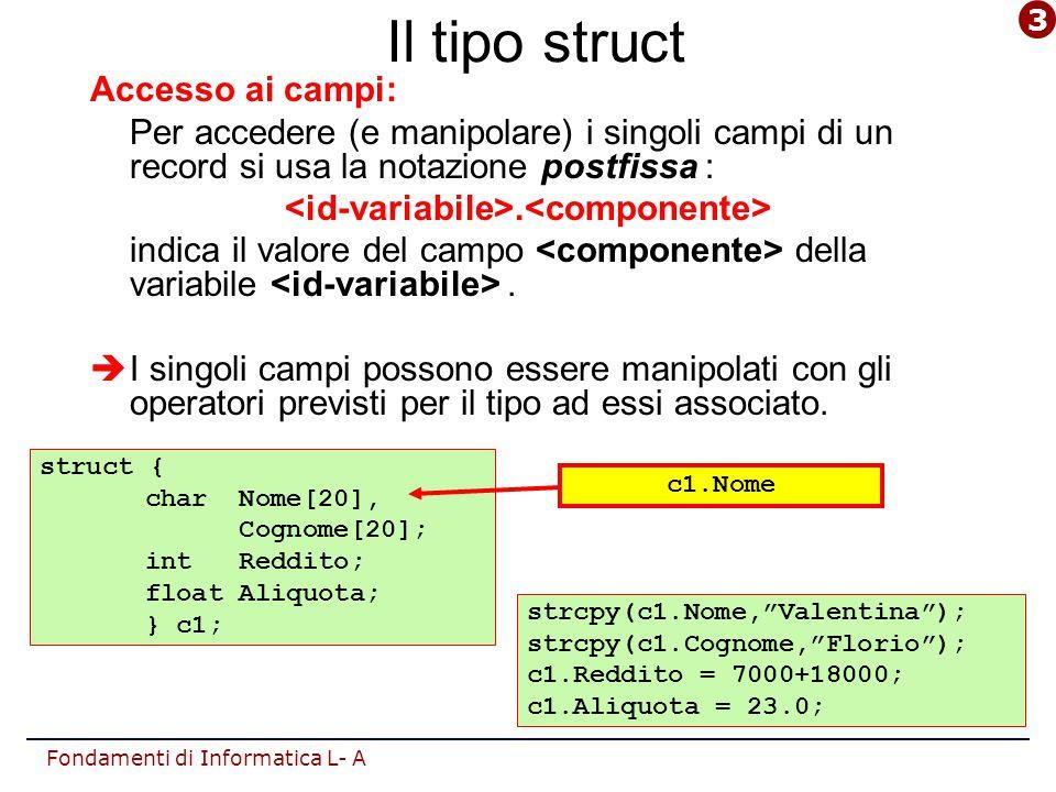 Fondamenti di Informatica L- A Il tipo struct: assegnamento Operatori: L'unico operatore previsto per dati di tipo struct è l'operatore di assegnamento (=):  è possibile l'assegnamento diretto tra record di tipo equivalente.