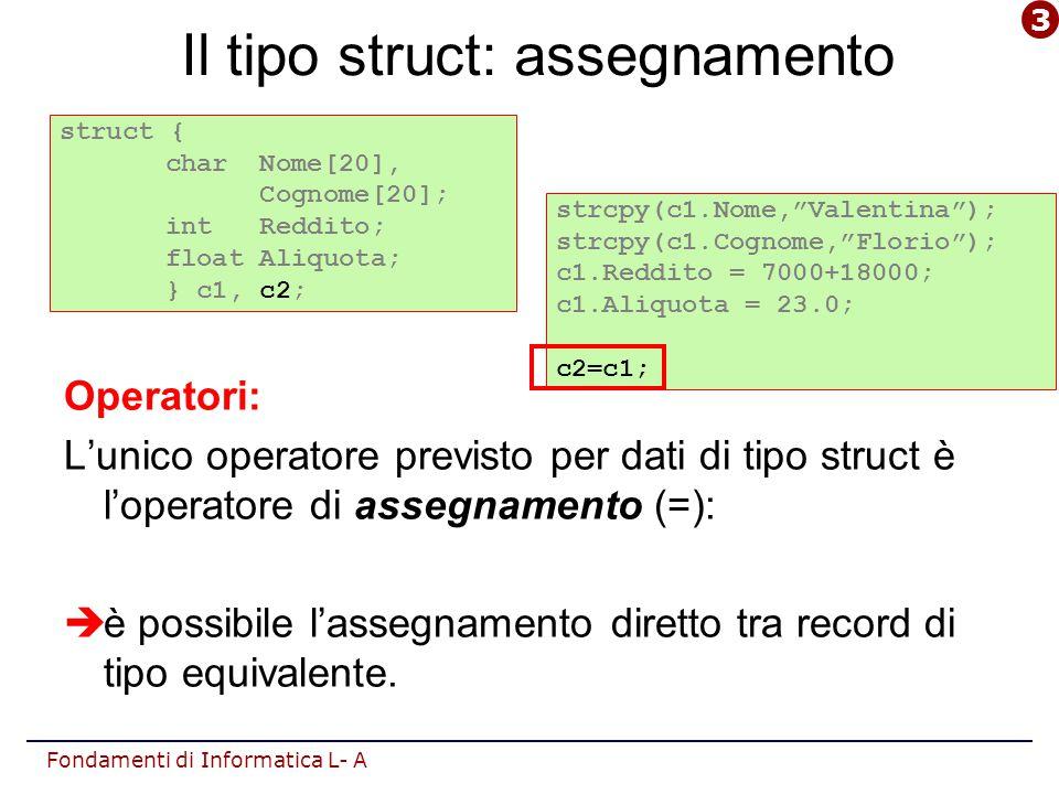 Fondamenti di Informatica L- A #include #define ita 0 #define mat 1 #define ing 2 #define N 20 typedef struct{ char nome[30], cognome[30]; int voto[3]; } studente; main() {studente classe[N]; float m; int i;int j; /* lettura dati */ for(i=0;i<N; i++) {fflush(stdin); gets( classe[i].nome ); gets( classe[i].cognome ); for(j=ita; j<=ing; j++) scanf( %d , &classe[i].voto[j] ); } nome i-mo studente cognome i-mo studente voto j-ma materia i-mo studente