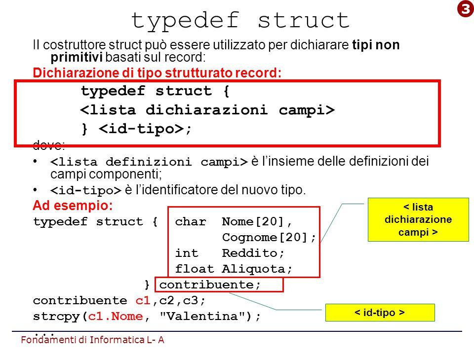 Fondamenti di Informatica L- A Puntatori a puntatori Un puntatore può puntare a variabili di tipo qualunque (semplici o strutturate):  può puntare anche a un puntatore: [typedef] TipoDato**TipoPunt; Ad esempio: int x, *P, **DP; P = &x; Dp = &P; **DP=1218;  DP è un doppio puntatore (o handle): dereferenziando 2 volte DP, si accede alla variabile puntata dalla catena di riferimenti.