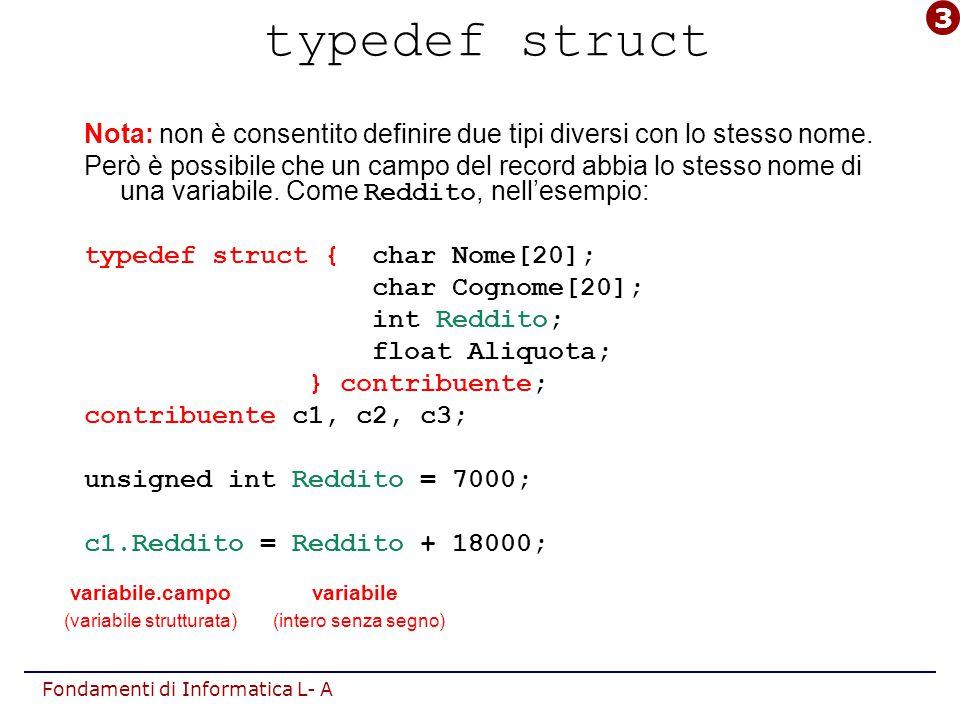 Fondamenti di Informatica L- A Il tipo struct in sintesi Riassumendo, la sintassi da adottare è: [typedef] struct { ;...
