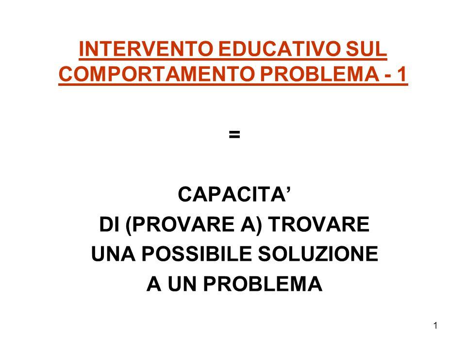 1 INTERVENTO EDUCATIVO SUL COMPORTAMENTO PROBLEMA - 1 = CAPACITA' DI (PROVARE A) TROVARE UNA POSSIBILE SOLUZIONE A UN PROBLEMA