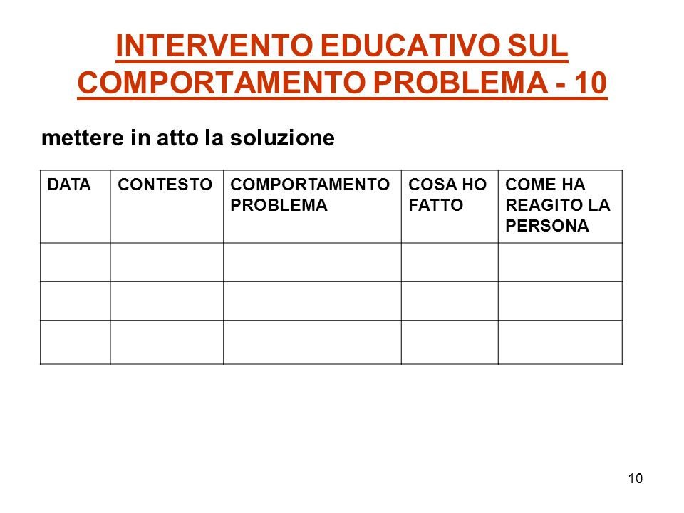 11 INTERVENTO EDUCATIVO SUL COMPORTAMENTO PROBLEMA - 11 5.