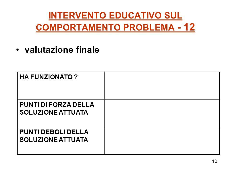 12 INTERVENTO EDUCATIVO SUL COMPORTAMENTO PROBLEMA - 12 valutazione finale HA FUNZIONATO ? PUNTI DI FORZA DELLA SOLUZIONE ATTUATA PUNTI DEBOLI DELLA S