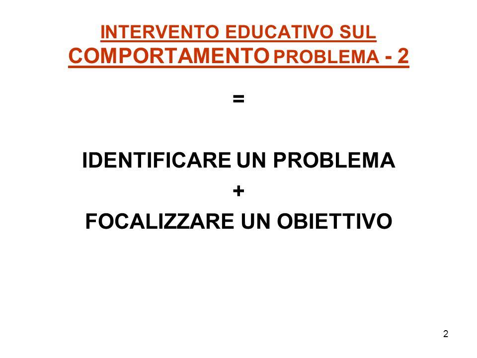 2 INTERVENTO EDUCATIVO SUL COMPORTAMENTO PROBLEMA - 2 = IDENTIFICARE UN PROBLEMA + FOCALIZZARE UN OBIETTIVO