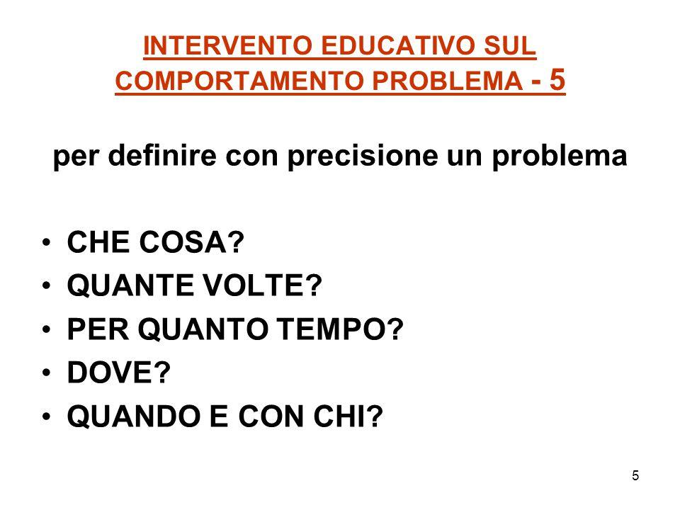 5 INTERVENTO EDUCATIVO SUL COMPORTAMENTO PROBLEMA - 5 per definire con precisione un problema CHE COSA? QUANTE VOLTE? PER QUANTO TEMPO? DOVE? QUANDO E