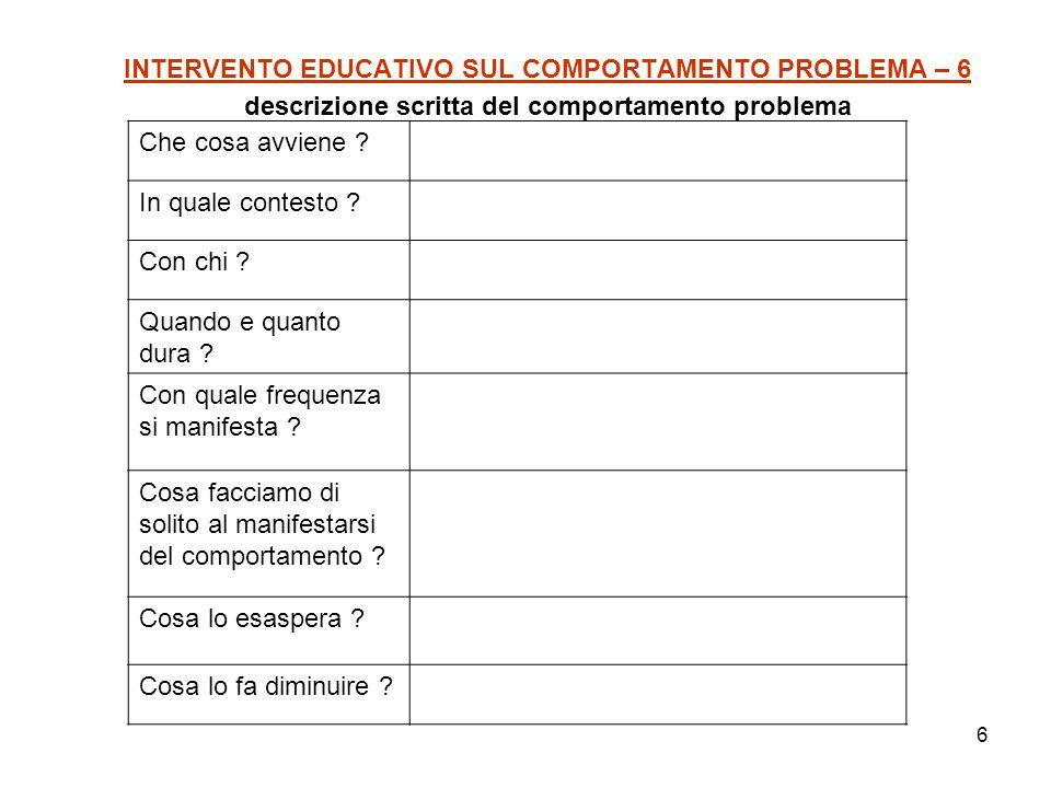 6 INTERVENTO EDUCATIVO SUL COMPORTAMENTO PROBLEMA – 6 descrizione scritta del comportamento problema Che cosa avviene ? In quale contesto ? Con chi ?
