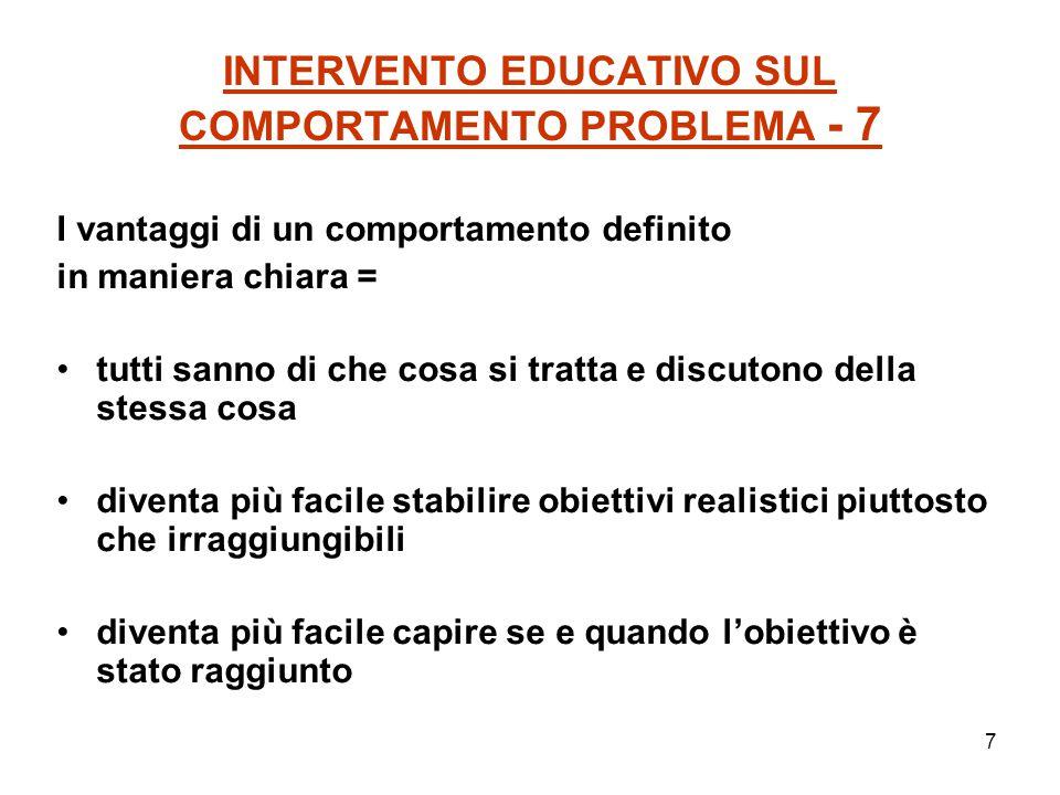 7 INTERVENTO EDUCATIVO SUL COMPORTAMENTO PROBLEMA - 7 I vantaggi di un comportamento definito in maniera chiara = tutti sanno di che cosa si tratta e
