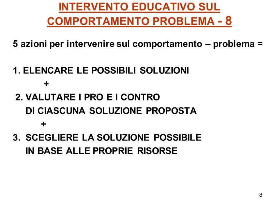 8 INTERVENTO EDUCATIVO SUL COMPORTAMENTO PROBLEMA - 8 5 azioni per intervenire sul comportamento – problema = 1. ELENCARE LE POSSIBILI SOLUZIONI + 2.