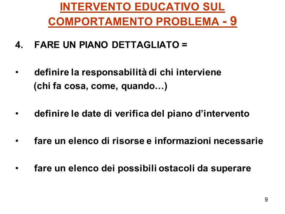 9 INTERVENTO EDUCATIVO SUL COMPORTAMENTO PROBLEMA - 9 4.FARE UN PIANO DETTAGLIATO = definire la responsabilità di chi interviene (chi fa cosa, come, q