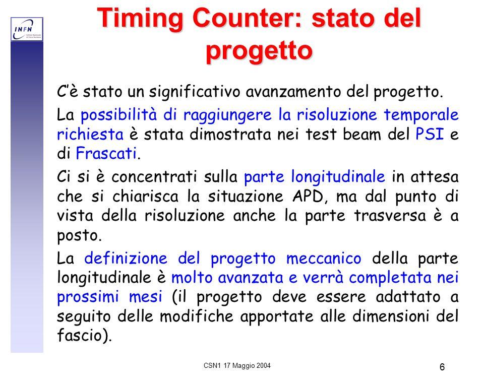 CSN1 17 Maggio 2004 6 Timing Counter: stato del progetto C'è stato un significativo avanzamento del progetto.