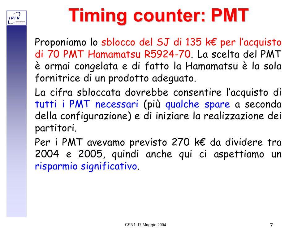 CSN1 17 Maggio 2004 7 Timing counter: PMT Proponiamo lo sblocco del SJ di 135 k€ per l'acquisto di 70 PMT Hamamatsu R5924-70.
